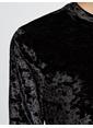 Koton Uzun Kol Kadife Bluz Siyah